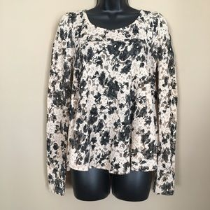 Nude with Black Rose Lace Long Sleeve Flowy Top